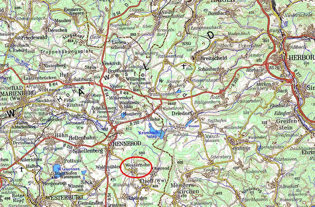 Westerwald Karte.Etwas Topographie